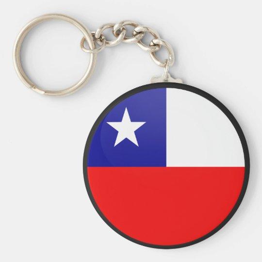 Chile quality Flag Circle Basic Round Button Key Ring