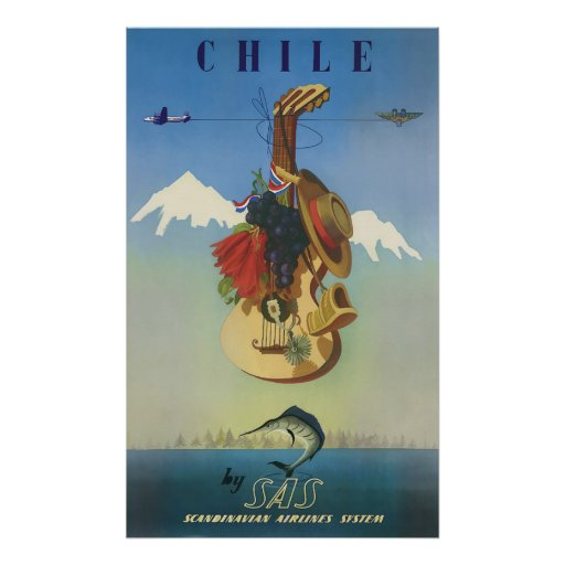 Chile Scandinavian Air Vintage Travel Art Poster
