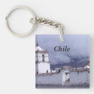 Chile Single-Sided Square Acrylic Key Ring
