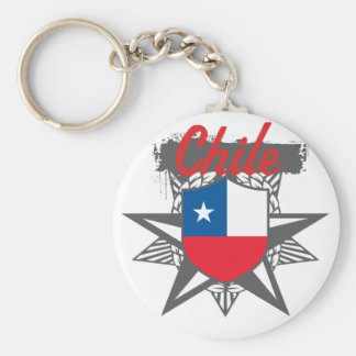 Chile Star Basic Round Button Key Ring