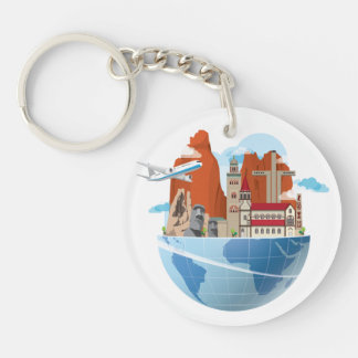 Chile Travel Themed (double-sided) Keychain