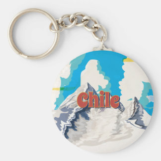 Chile Vintage Travel Poster Basic Round Button Key Ring