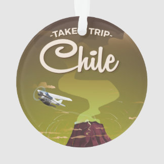 Chile Volcano vintage travel poster Ornament