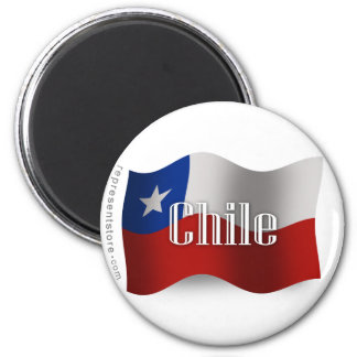 Chile Waving Flag 6 Cm Round Magnet