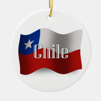Chile Waving Flag Christmas Ornament