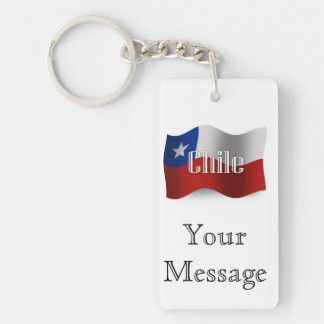 Chile Waving Flag Double-Sided Rectangular Acrylic Key Ring