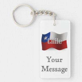 Chile Waving Flag Rectangular Acrylic Key Chains