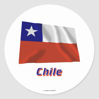 Chile Waving Flag with Name Classic Round Sticker