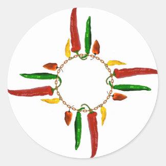 Chile Zia Round Sticker