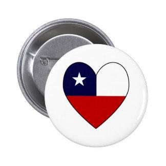 Chilean Flag Heart Valentine 6 Cm Round Badge