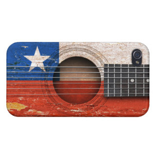 Chilean Flag on Old Acoustic Guitar iPhone 4/4S Case
