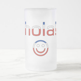Chilean Gifts : Hello / Hola + Smiley Face Frosted Glass Mug