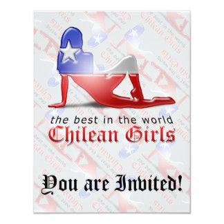 Chilean Girl Silhouette Flag 11 Cm X 14 Cm Invitation Card