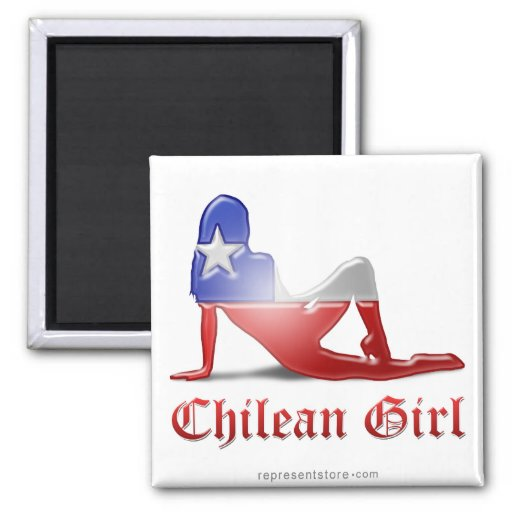 Chilean Girl Silhouette Flag Magnet