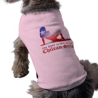 Chilean Girl Silhouette Flag Sleeveless Dog Shirt