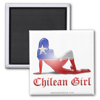 Chilean Girl Silhouette Flag Square Magnet