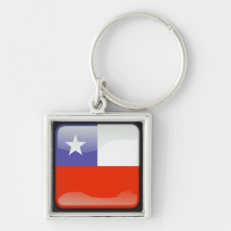 Chilean polished Silver-Colored square key ring