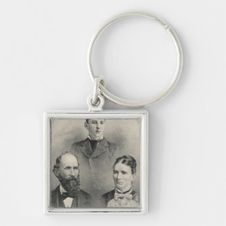 Chiles family portraits Silver-Colored square key ring