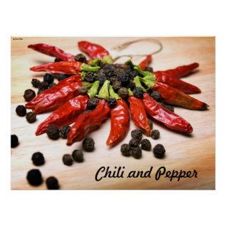 Chili-and-pepper, Chili and Pepper, by Sinisa B... Poster