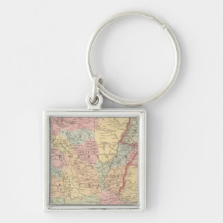 Chili, Argentine Republic, Paraguay, and Uruguay Silver-Colored Square Key Ring