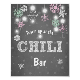 Chili Bar sign Pink Mint Winter snowflakes Chilly