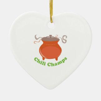 Chili Champs Ceramic Heart Decoration
