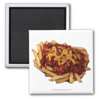 Chili cheese fries square magnet
