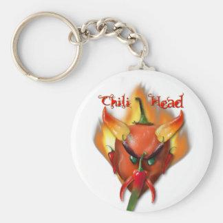 Chili Head Devil Basic Round Button Key Ring