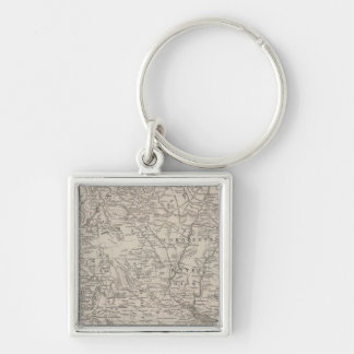 Chili, La Plata and Uruguay Silver-Colored Square Key Ring