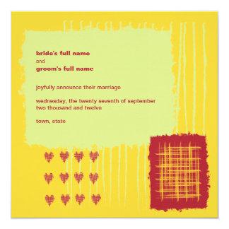 """Chili Lemon Wedding Announcement 5.25"""" Square Invitation Card"""