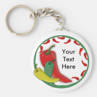 Chili Pepper Group Circle Frame3 Basic Round Button Key Ring