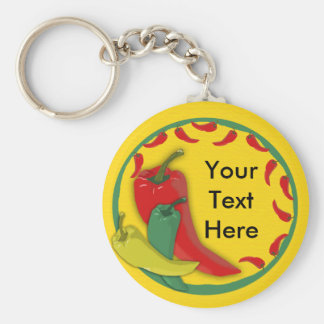 Chili Pepper Group Circle Frame Basic Round Button Key Ring