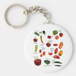 Chili Pepper ID Basic Round Button Key Ring