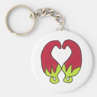 Chili Pepper Love Basic Round Button Key Ring