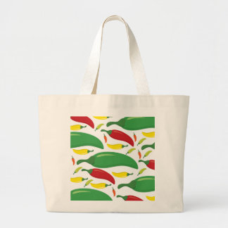 Chili pepper pattern large tote bag