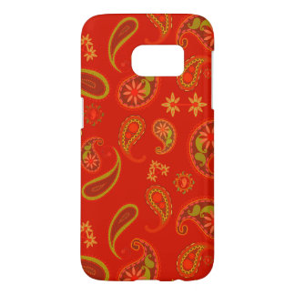 Chili Pepper Red and Lime Green Paisley Pattern