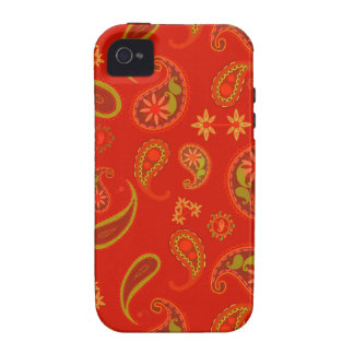 Chili Pepper Red and Lime Green Paisley Pattern Case-Mate iPhone 4 Cases