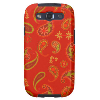 Chili Pepper Red and Lime Green Paisley Pattern Galaxy SIII Case