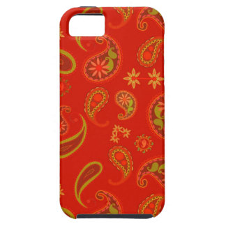 Chili Pepper Red and Lime Green Paisley Pattern iPhone 5 Covers