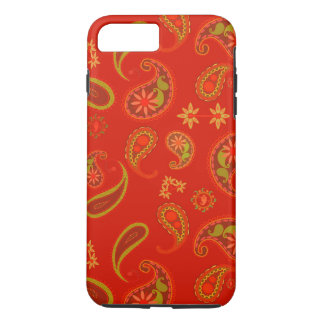 Chili Pepper Red and Lime Green Paisley Pattern iPhone 7 Plus Case