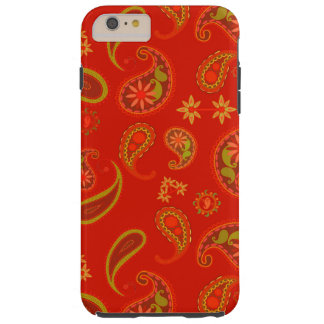 Chili Pepper Red and Lime Green Paisley Pattern Tough iPhone 6 Plus Case
