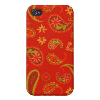 Chili Pepper Red and Lime Green Paisley Pern iPhone 4 Cover