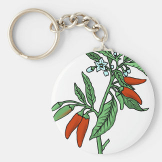 Chili Peppers Basic Round Button Key Ring