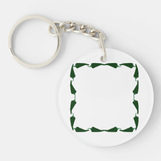 Chili peppers green end to end frame graphic.png Double-Sided round acrylic keychain