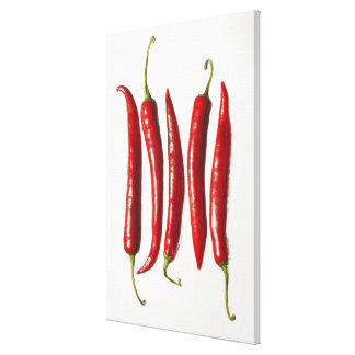 Chili Peppers in a Row Canvas Print