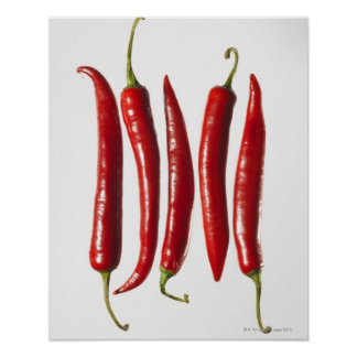 Chili Peppers in a Row Poster