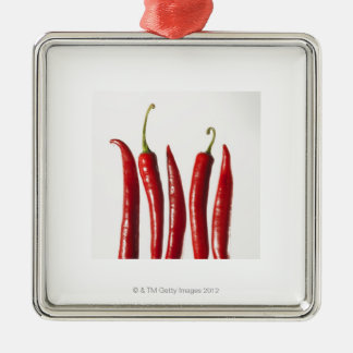 Chili Peppers in a Row Silver-Colored Square Decoration