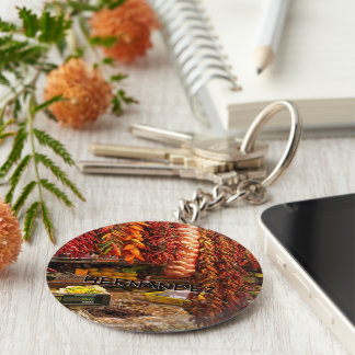 Chili peppers monogram basic round button key ring