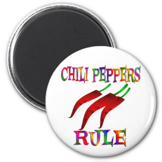 Chili Peppers Rule 6 Cm Round Magnet
