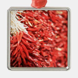 Chili peppers Silver-Colored square decoration
